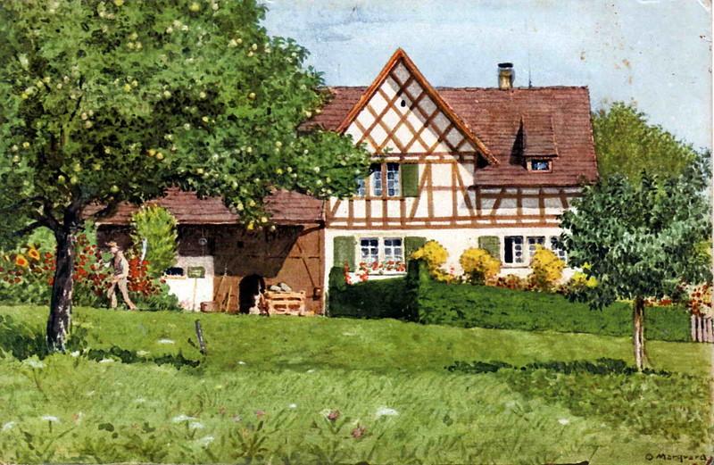 Gerlikon Huggenberger-Haus Aquarell O Marquard